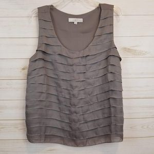 Loft sleeveless ruffled blouse size large